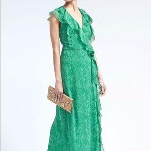 Banana Republic Green Snake Ruffle Maxi Wrap Dress